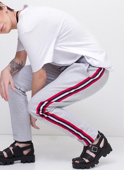 Calça Pijama Moletom com Listras