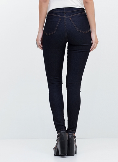 Calça Skinny Cintura Alta em Jeans