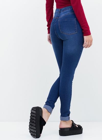 Calça Cintura Alta com Puídos em Jeans