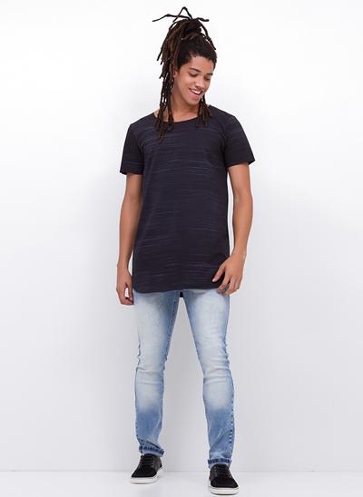 Calça Skinny em Jeans Marmorizado Delavê