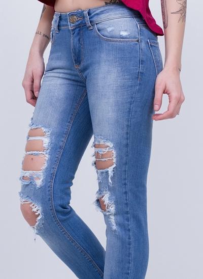 Calça Skinny Cintura Baixa Destroyed