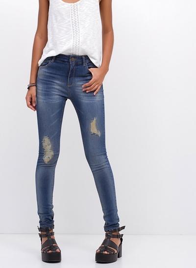 Calça Cigarrete Cintura Média em Jeans