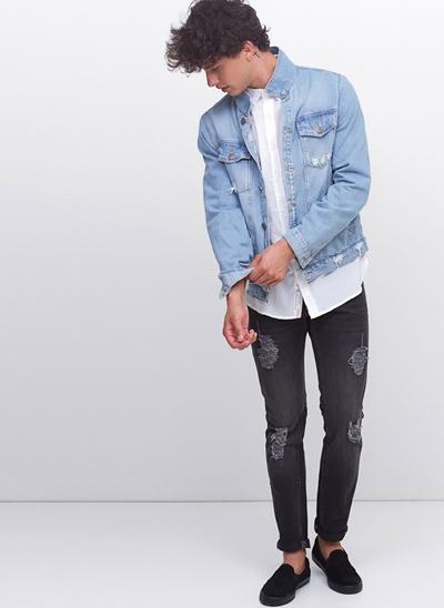 Calça Slim em Jeans Destroyed Black