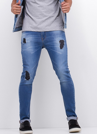 Calça Super Skinny Destroyed Blue