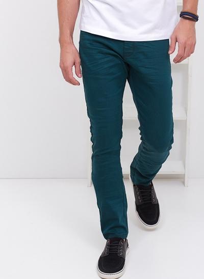 Calça Skinny Contrastante em Sarja