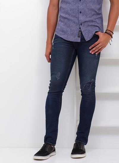 Calça Skinny Destroyed em Jeans Blue