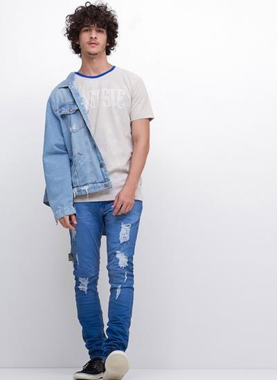 Calça Skinny em Jeans Amassado