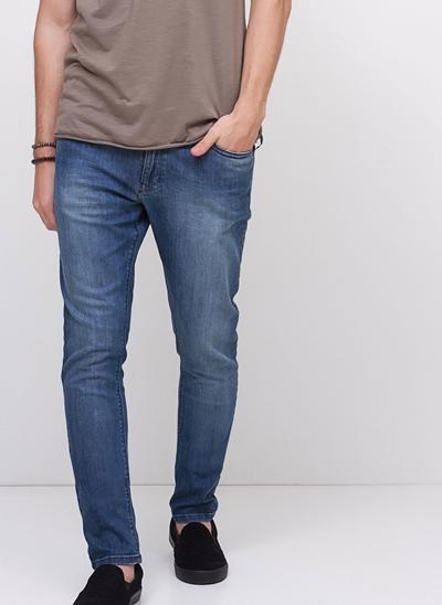 Calça Super Skinny em Jeans Amassado