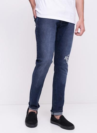 Calça Skinny com Rasgos em Jeans
