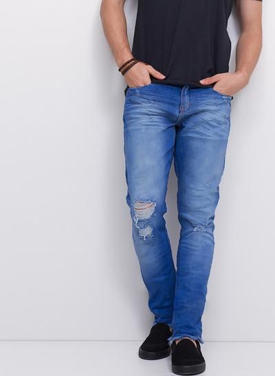 Calça Skinny em Jeans Blue Amassado