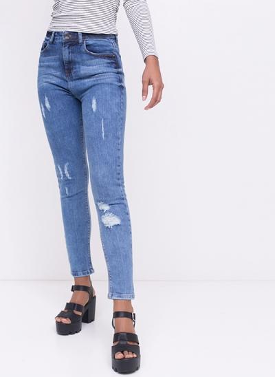 Calça Cigarrete Em Jeans com Puídos