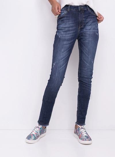 Calça Cigarrete em Jeans Resinado