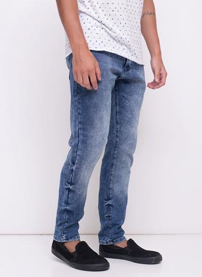 Calça Skinny Moletom em Jeans
