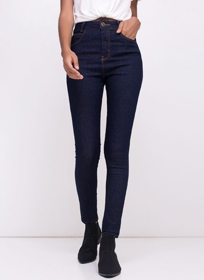Calça Cigarrete Cintura Alta em Jeans
