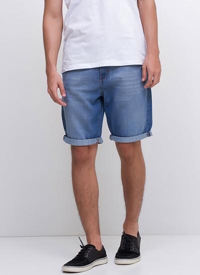 Bermuda Allday Barra Dobrada em Jeans