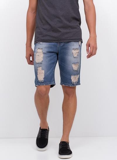 Bermuda Destroyed em Jeans