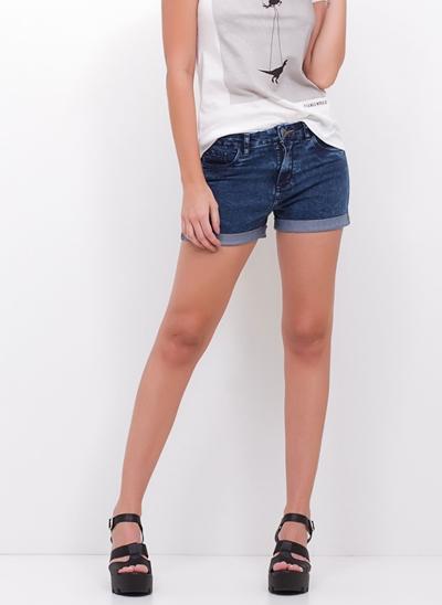 Short Hot Pants Barra Dobrada em Jeans