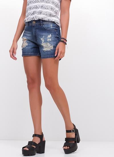 Bermudinha Destroyed em Jeans