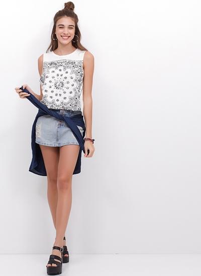 Short Saia com Botões em Jeans