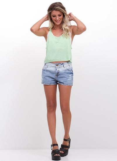 Short Regular em Jeans Delavé
