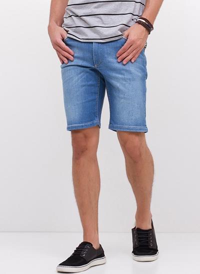 Bermuda Jeans com Bolso Desfiado