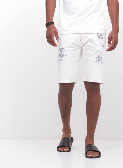 Bermuda Allday White Jeans Destroyed