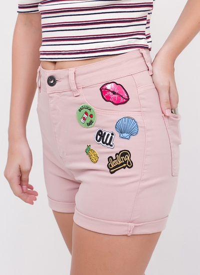 Short Cintura Alta com Patches em Sarja