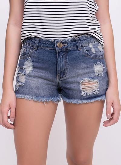 Short Destroyed com Puídos em Jeans