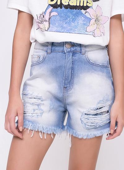 Short Jeans com Forro de Paetês