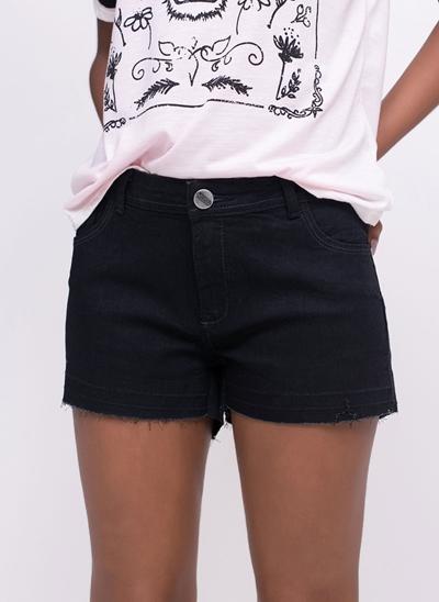 Short Jeans com Barra Desfiada