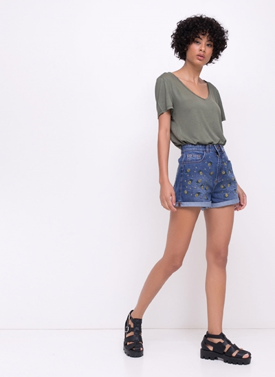 Short Hot Pants Abacaxis em Jeans