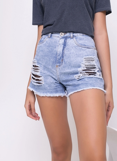 Short Hot Pants Destroyed com Telinha