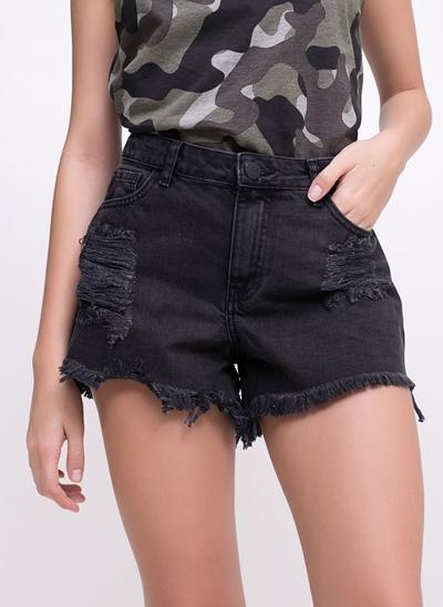 Short Cintura Média em Jeans com Rasgos