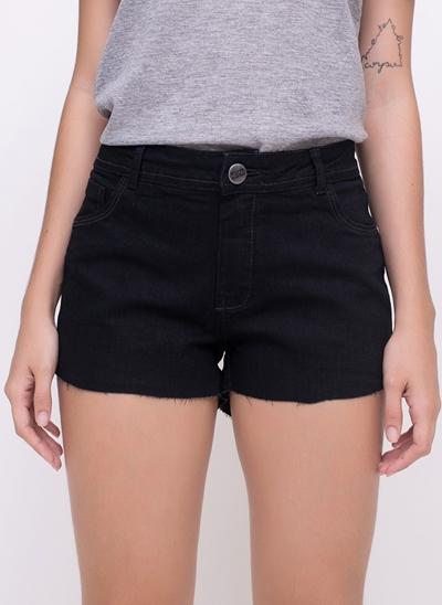 Short Cintura Média em Jeans Black