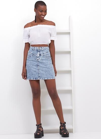 Saia Retrô em Jeans Vintage