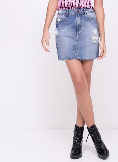 Mini Saia Jeans com Rasgo