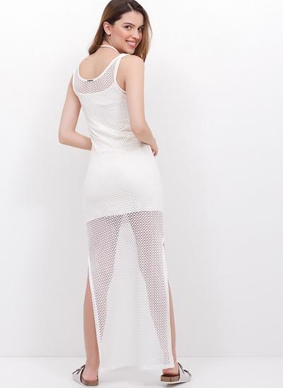 Vestido Malha Rendada Longo com Fendas