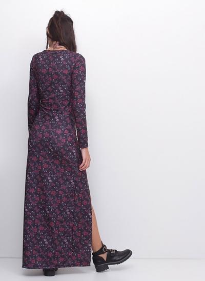 Vestido Longo Manga Longa com Fenda