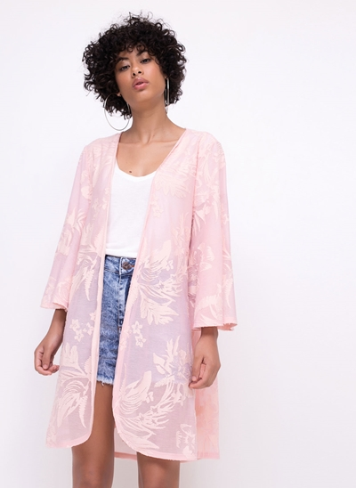 Kimono Devorê Folhagens