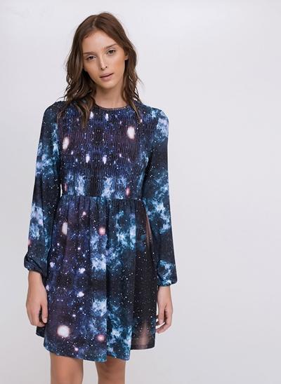 Vestido Acinturado Galáxia