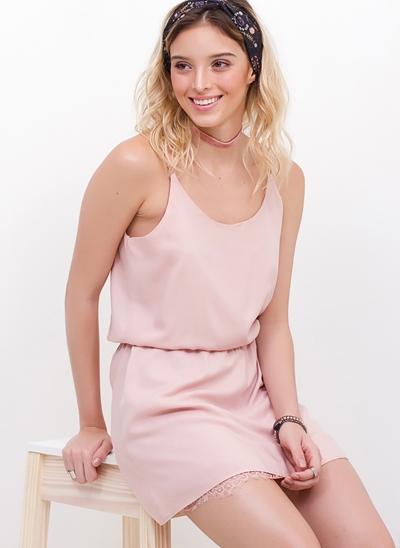 Vestido Lingerie Rose com Renda