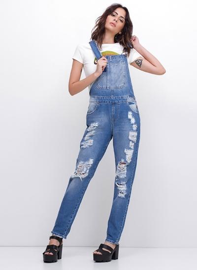 Macacão Longo em Jeans Destroyed