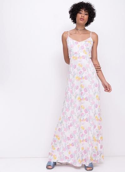 Vestido Longo Floral com Recorte