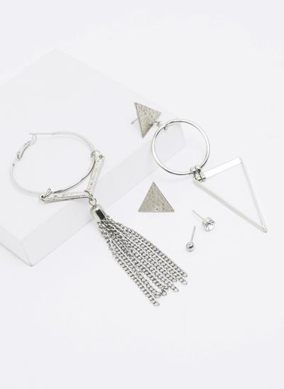 Kit 5 Brincos com Franja e Triângulo