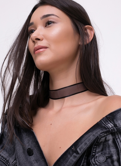 Kit com 2 Colares Chokers Transparentes