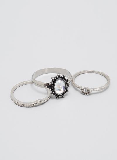 Kit com 3 Anéis com Pedra