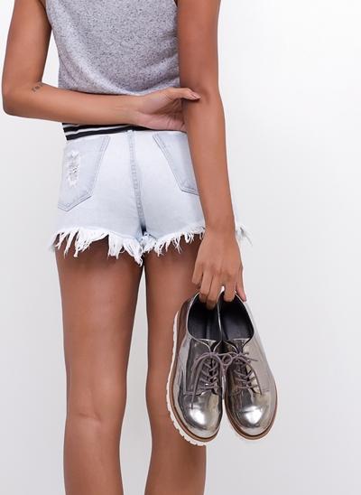 Sapato Oxford Metalizado Tratorado