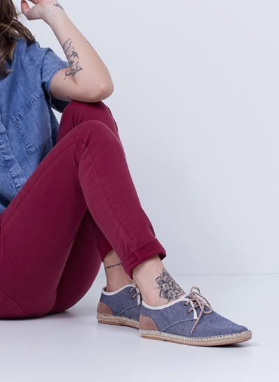 Alpargata em Jeans com Cadarcinhos