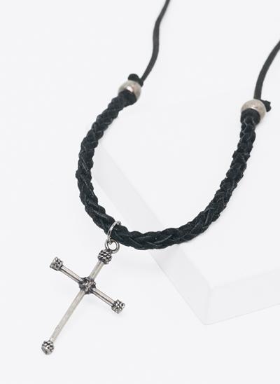 Colar Camurça com Pingete Cross