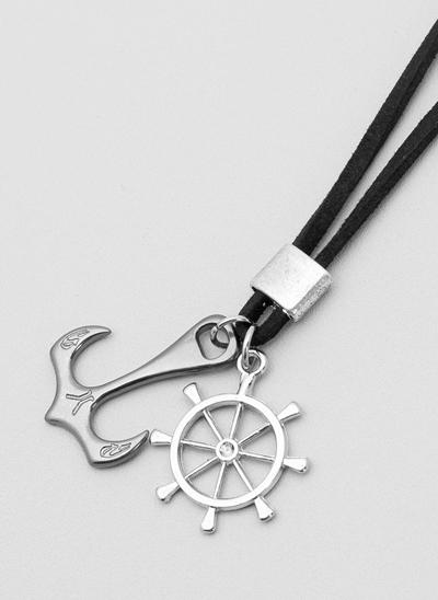 Colar Camurça com Pingentes Navy